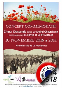 Concert commémoratif guerre 1914-1918. Amiens La Providence